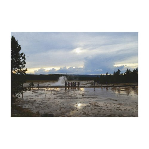 Tourists Visit Lower Geyser Basin of Yellowstone Canvas Print