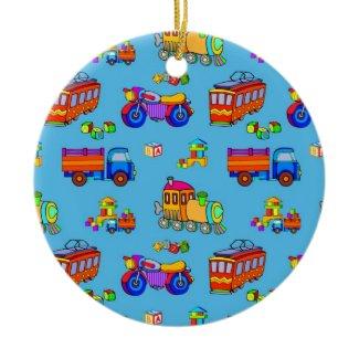 Toys - Red Trucks & Orange Trains ornament