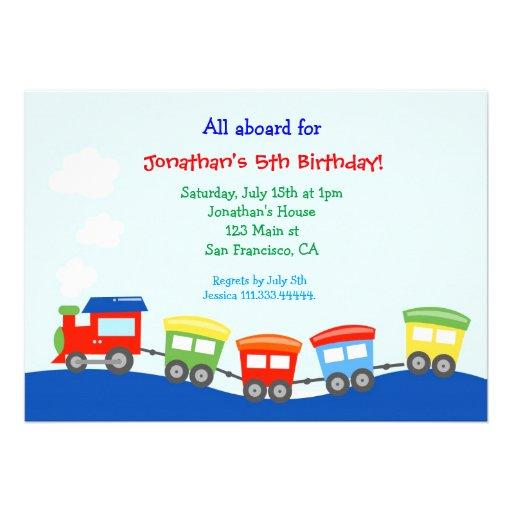 personalized train birthday party invitations custominvitations4u com