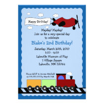 Train & Plane 5x7 cute boy birthday invitation