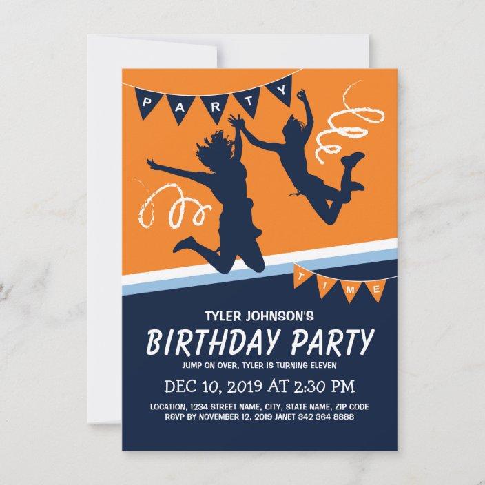 trampoline park boys kids birthday party invitation zazzle com
