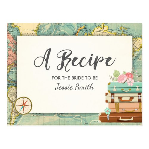 Travel Bridal Shower Recipe Card Miss to Mrs