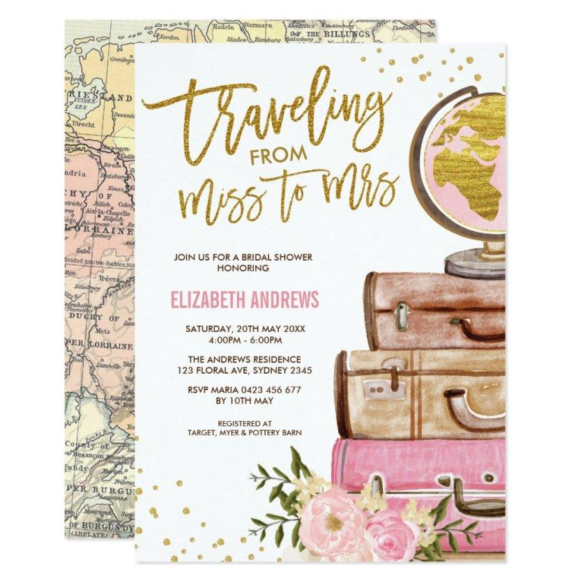 Travel Map Bridal Shower / Pink Gold Floral Invitation