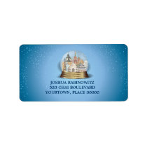 Traveller Snow Globe Bar Bat Mitzvah Address Label