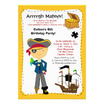 Treasure Map Pirate Ship Birthday Invitation