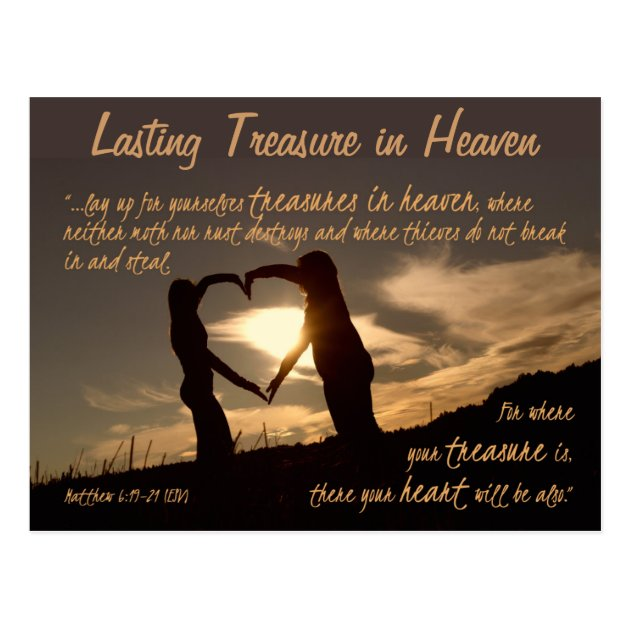 Treasures In Heaven Matthew 6 19 21 Bible Verse Postcard
