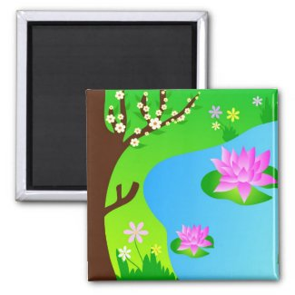Tree and pond - Magnet magnet
