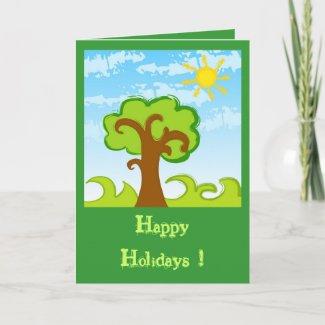 Tree and Sun Greeting Card