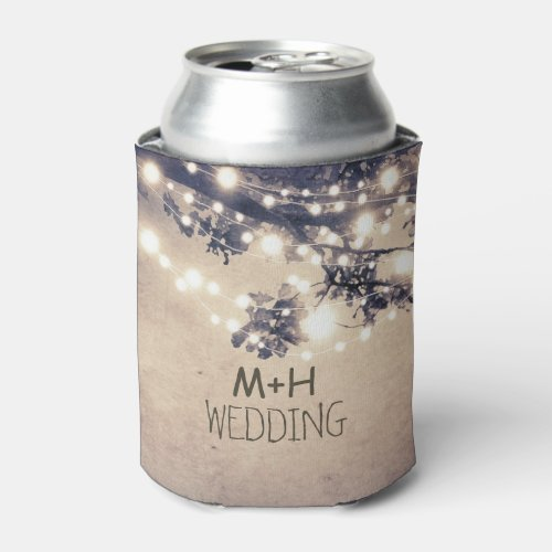 Tree Branches and String Lights Rustic Wedding Can Cooler