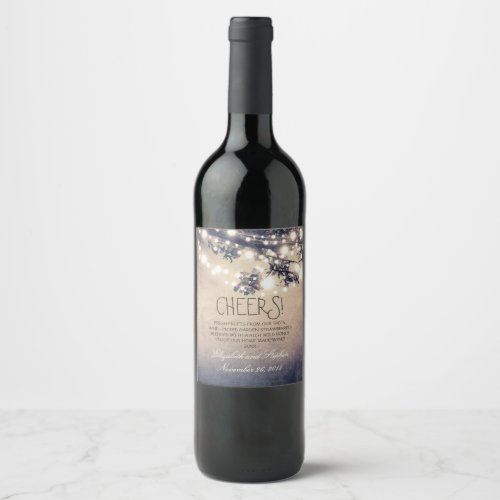 Tree Branches Lights Rustic Wine Label