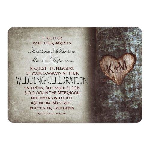 Tree Carved Heart Rustic and Vintage Wedding Invitation