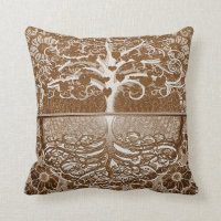 Tree of Life Hearts in Brown by Amelia Carrie Throw Pillow