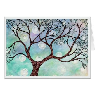 Tree on Vellum with Watercolor Background card