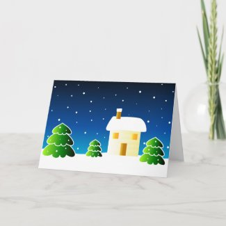 Trees and house - Card card