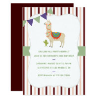 Trendy colorways Llama Birthday Party invitation