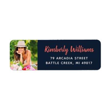 Trendy Custom Photo Graduation Return Address Label