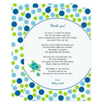 Trendy Dots Sea Turtle baby thank you note   poem Card