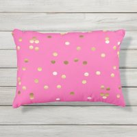 Trendy Gold Foil Confetti Hot Pink Outdoor Pillow