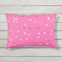 Trendy Gold Foil Confetti Hot Pink Outdoor Pillow   Zazzle