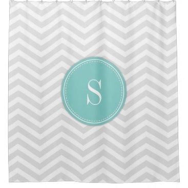 Trendy Light Grey and White Chevron with Monogram Shower Curtain