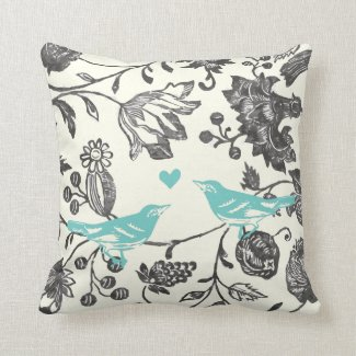 Trendy Mint Gray Vintage Modern Floral Bird Throw Pillow