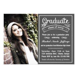 Trendy Modern Chalkboard Typography Graduation Invitation