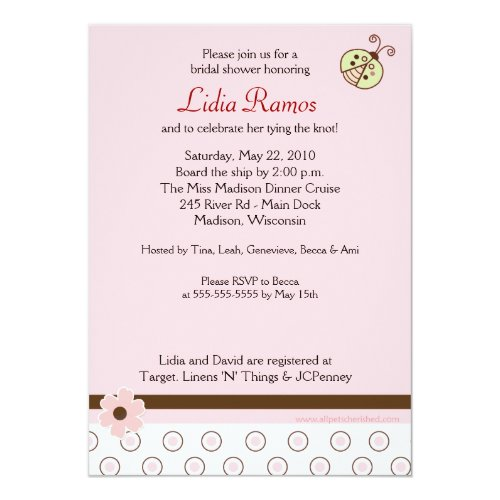 Trendy Pink Ladybug 5x7 Bridal Shower Invite