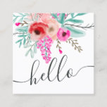 Trendy pink mint floral watercolor hello script square business card
