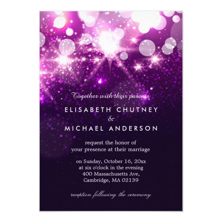 Trendy Purple Glitter Sparkles Stylish Wedding Card