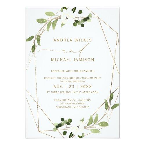 Trendy Wedding Invite Geometric Greenery Faux Foil