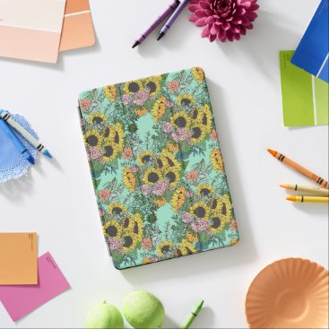 Trendy yellow sunflowers and pink roses design iPad pro cover