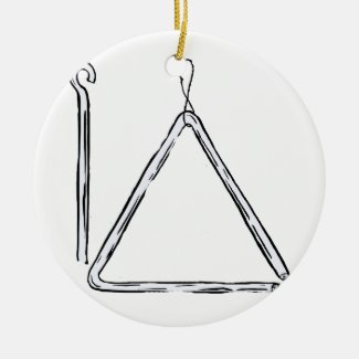 Triangle And Beater Graphic Black and White Christmas Tree Ornament