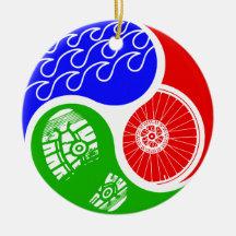 Triathlon TRI Yin Yang Ceramic Ornament