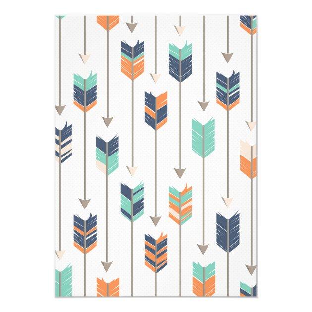 Tribal Arrows Baby Shower Navy Orange Teal Card Zazzle