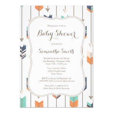 Tribal Arrows Baby Shower Navy Orange Teal Invitation