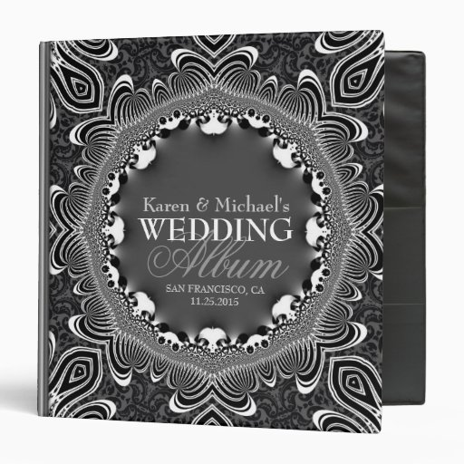 Tribal Damask Black Silver Wedding Album Binder