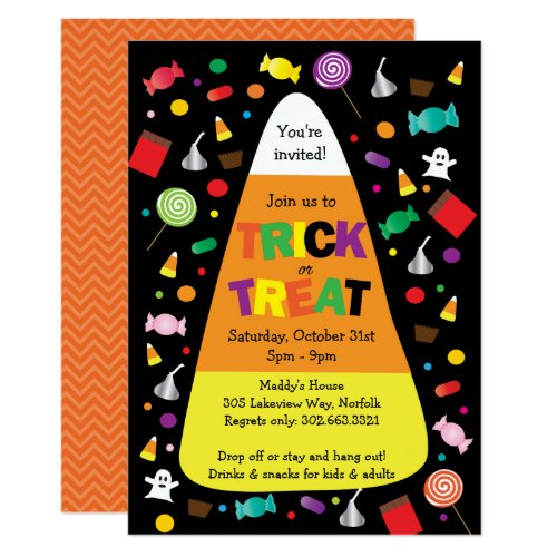 Trick or Treat Halloween Candy Invitation