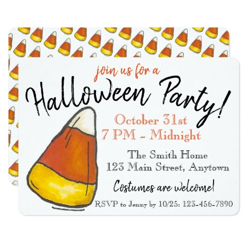 Trick or Treat Halloween Party Candy Corn Invitation