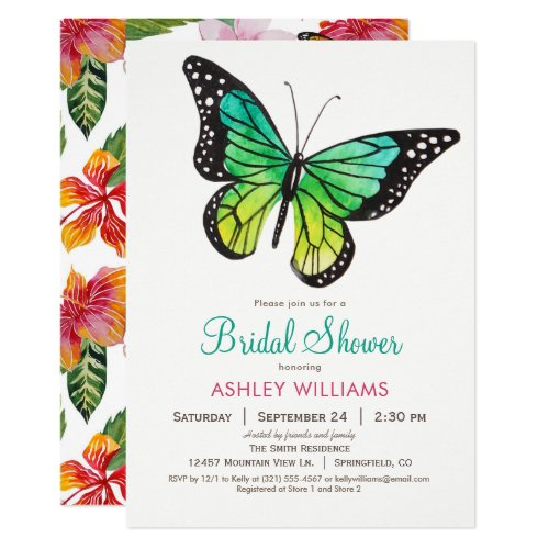Tropical Butterfly Bridal Shower Invitation