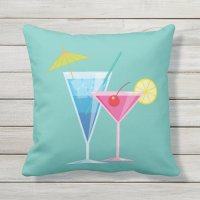 Tropical Cocktails on Turquoise - Outdoor Outdoor Pillow ...