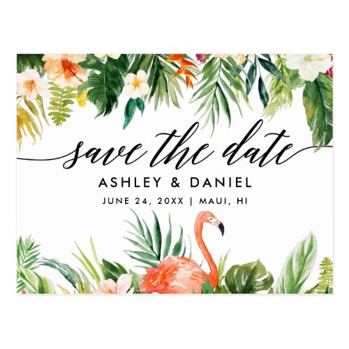 Tropical Coral Floral Calligraphy Save The Date Postcard