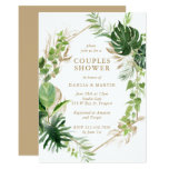 Tropical Greenery Gold Geometric Couples Shower Invitation