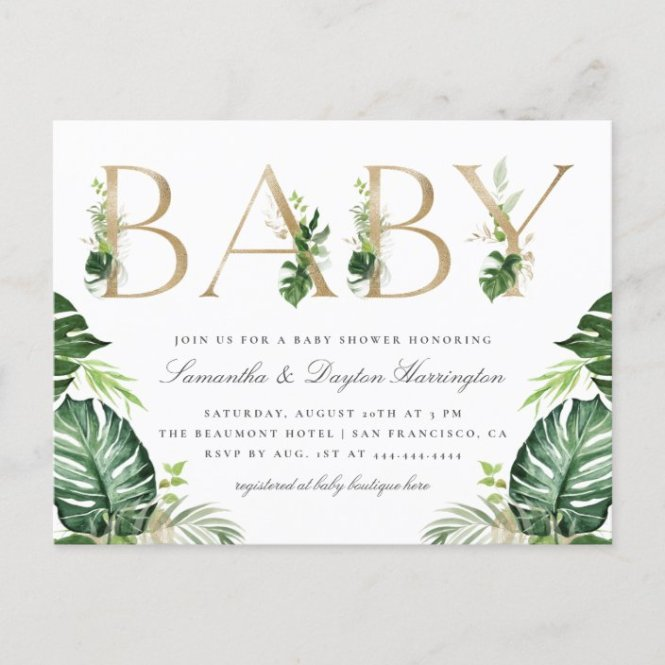 Gold Typography Baby Shower Invitation