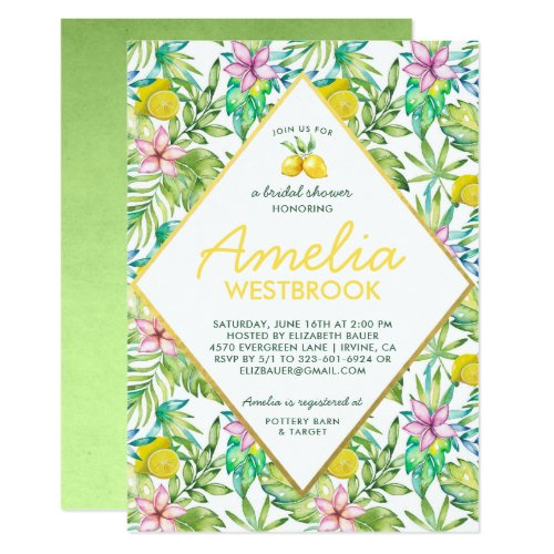 Tropical Lemon Bridal Shower Invitation