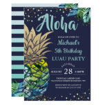 ❤️ Tropical Luau Pineapple Beach Navy Blue Birthday Invitation
