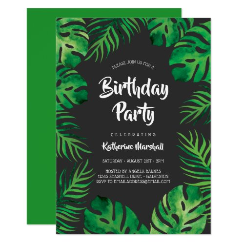 Tropical Monstera Leaves Birthday Party 2 Invitation