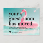 🤣 Tropical Pink Flamingo Change of Address Moving Announcement Postcard