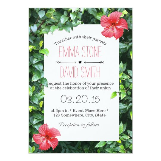 Tropical Red Hibiscus Flowers Hawaiian Wedding Invitation