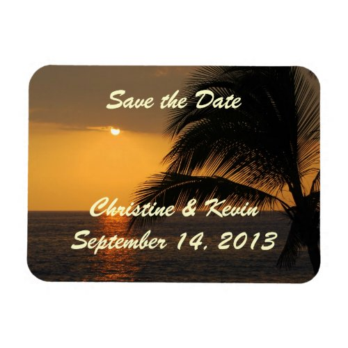 Tropical Sunset Save the Date Magnet premiumfleximagnet