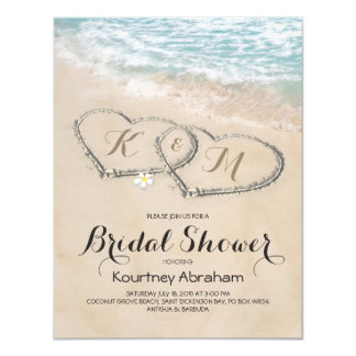 Tropical Vine Beach Heart Bridal Shower Card